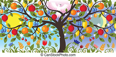 postal of Thanksgiving - tree with various garden-stuffs and...