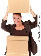 postal, pacote, secretária