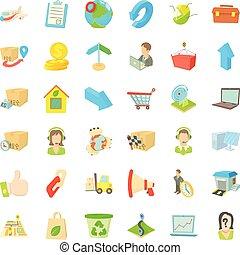 Postal parcel icons set, cartoon style