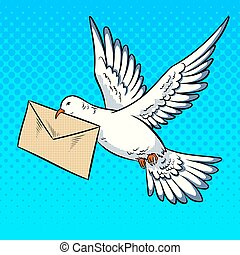 Postal pigeon with letter pop art style vector