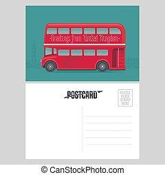 postal, plantilla, con, saludos, de, reino unido, reino unido, con, rojo, double-decker