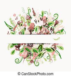 postal, ramo, diseño, su, floral