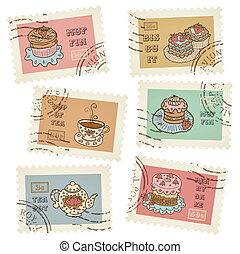 Postal retro stamps vector