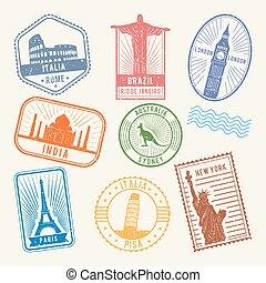 postal, sellos, con, famoso, arquitectura de mundo, symbols., vector, viaje, cuadros