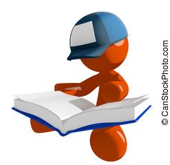 postal, sentando, grande, trabalhador, livro, laranja, correio, leitura, homem