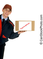 Postal service delivery - handsome postman making a...