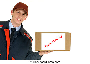 handsome postman making a delivery, post package. Studio, white background.