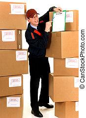 Postal service delivery - handsome postman making a...