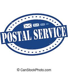 Postal service - Stamp with text postal service inside,...