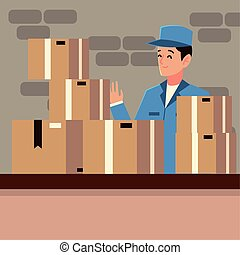 postal service postman character with boxes on counter