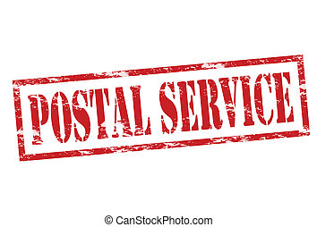 Postal service - Rubber stamp with text postal service...