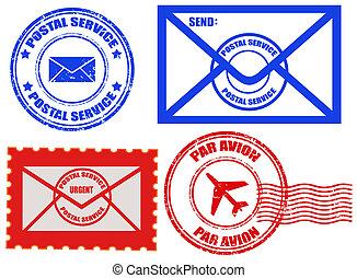 Postal service - Set of stamps, envelopes and postcards...