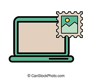 postal service stamp with laptop