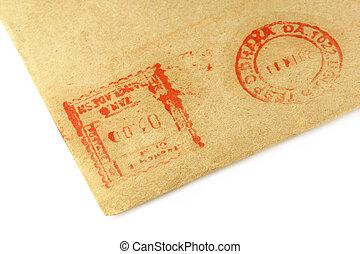 Postal sign on an envelope over white background