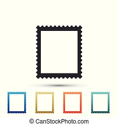 Postal stamp icon isolated on white background. Set elements in color icons. Vector Illustration