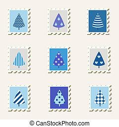 Postal stamps decoration trees set.