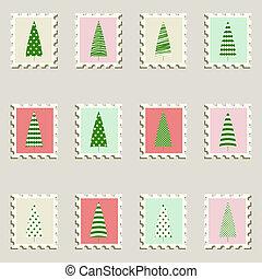 Postal stamps set fir-trees.