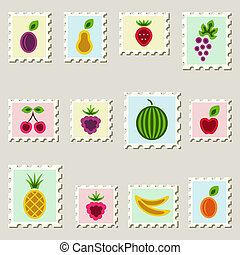 Postal stamps set with fruits.