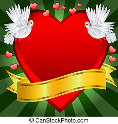Postal to the day of saint Valentin with a red heart, vector...