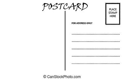 postal, vacío, plantilla, blanco