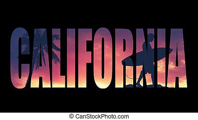 postal, vendimia, california, filtrado