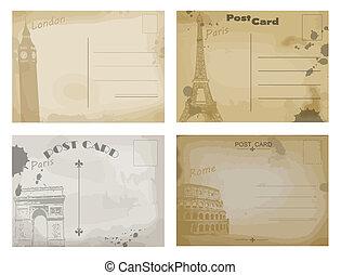 postal, vendimia, diseños, conjunto