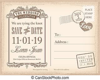 postal, vendimia, invitación, plano de fondo, boda, fecha, ...