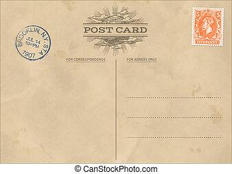 postal, vendimia, vector, plantilla