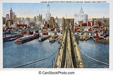 postal, viejo, puente de brooklyn