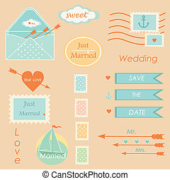 wedding postal stamps set of elements tablets vector