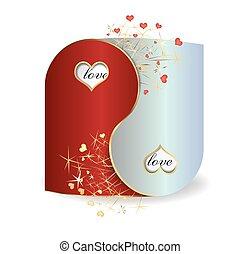 postal, yin y yang, día de valentín