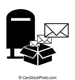 postale, disegno, servizio