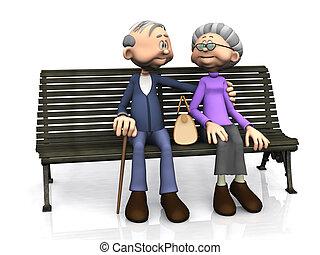postarší, karikatura, dvojice, dále, bench.