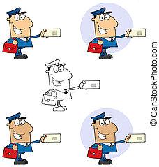 postarbeider, man, post