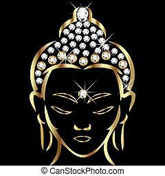 postavení, buddha, zlatý