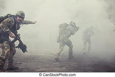 postavení, hajný, sjednocený, děj, vojsko