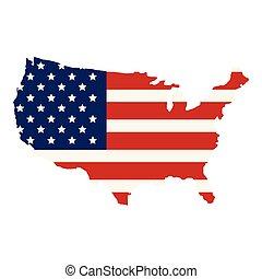 postavení, mapa, prapor, sjednocený, amerika