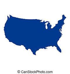 postavení, mapa, sjednocený, amerika