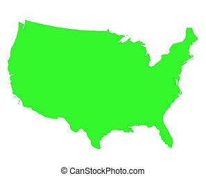 postavení, mapa, sjednocený, nárys, amerika