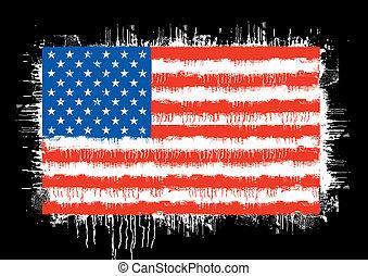 postavení, prapor, sjednocený, grunge, amerika