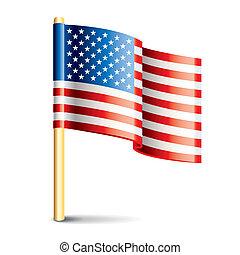 postavení, prapor, sjednocený, lesklý, amerika