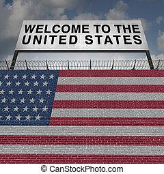postavení, sjednocený, přistěhovalectví