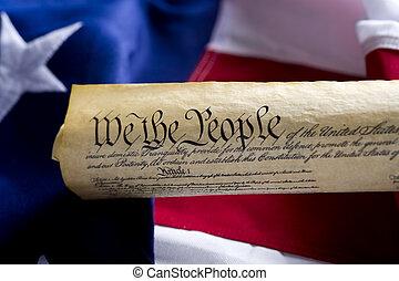 postavení, sjednocený, ustanovení, amerika, svitek