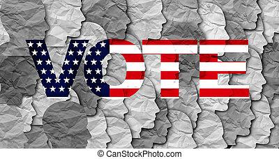 postavení, sjednocený, volič
