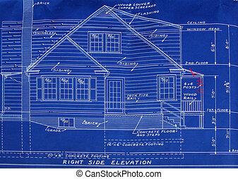 postavit, stěna, detail, modrák