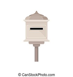 postbox., extérieur, récipient, newspapers., plat, vendange...