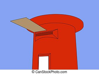 Postbox - Illustration of red postbox with a brown letter