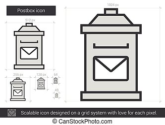 Postbox line icon. - Postbox vector line icon isolated on ...