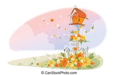 Postbox over floral landscape