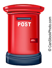 postbox - drawing of red postbox in a white background
